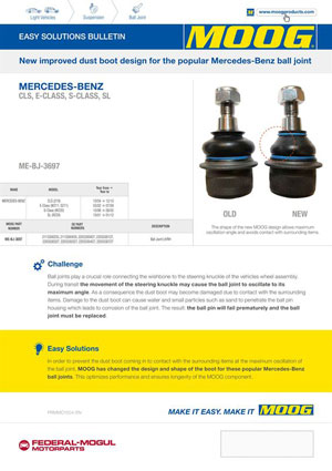 Moog highlights vehicle specific suspension issues factorfocus federal mogul motorparts has released its latest easy solutions bulletin esb highlighting inherent design issues with ball joint dust boots on popular sciox Gallery